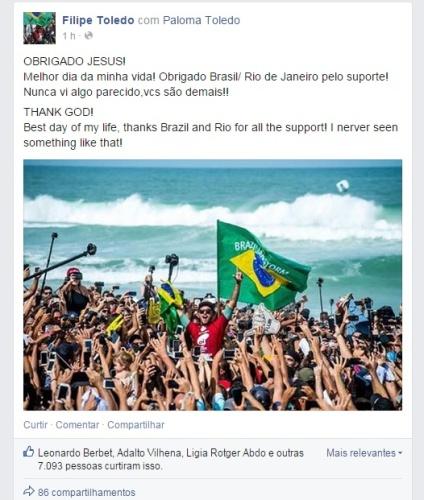 Nas redes sociais, o atleta postou uma foto agradecendo a Deus pela vitória