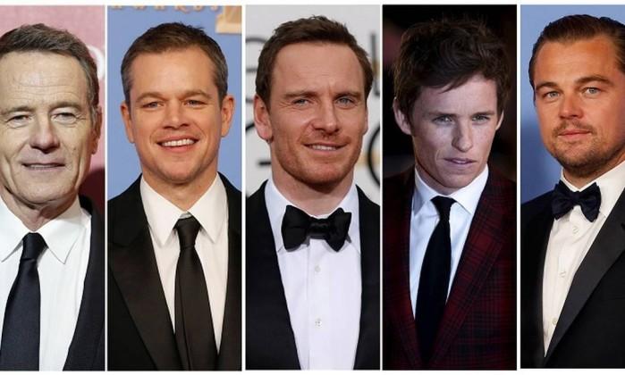 Bryan Cranston, Matt Damon, Michael Fassbender, Eddie Redmayne, and Leonardo DiCaprio na categoria melhor ator (Foto: Divulgação)