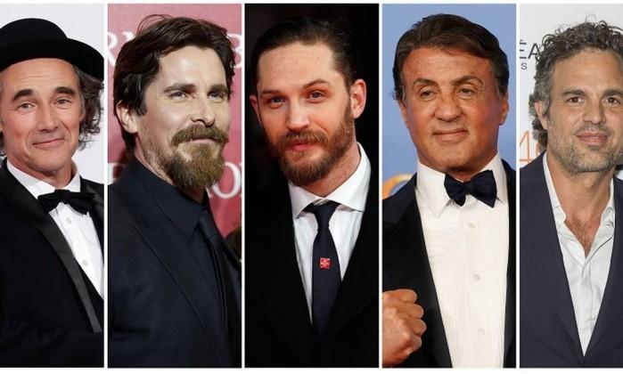 Mark Rylance, Christian Bale, Tom Hardy, Sylvester Stallone and Mark Ruffalo disputam na categoria melhor ator coadjuvante (Foto: Divulgação)
