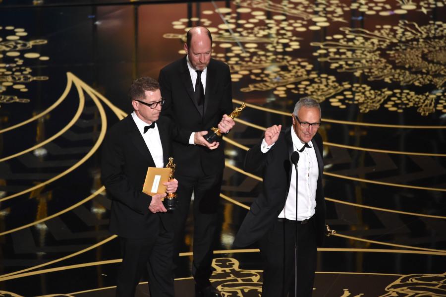 Chris Jenkins, Gregg Rudloff e Ben Osmo agradecem oscar (foto: divulgação)