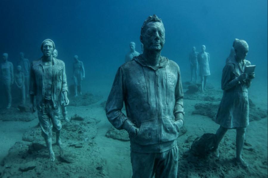 Mais de 200 estátuas estão no museu Subaquático da Espanha (Foto: Divulgação)