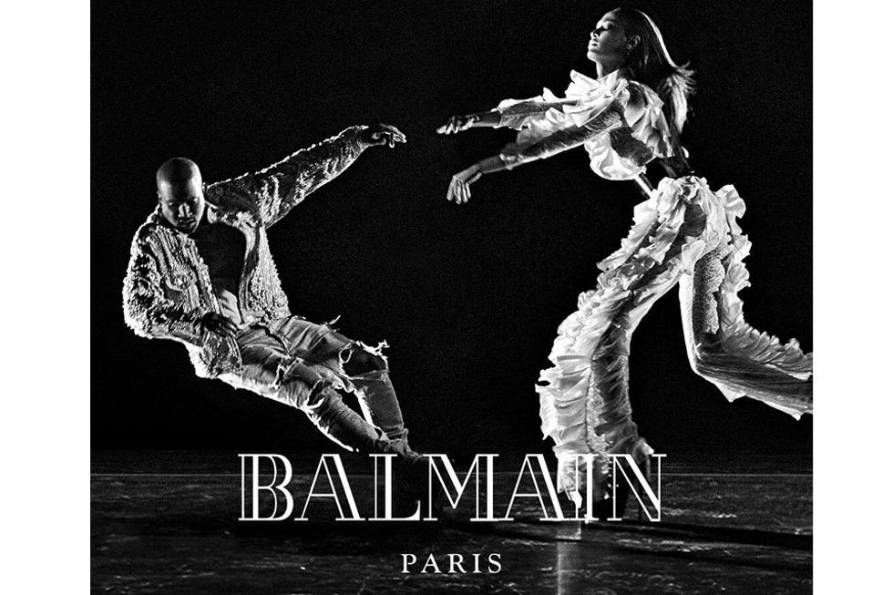 Kayne West apresenta coleção outono/inverno da Balmain ao lado de Joan Smalls (Foto: Divulgação)