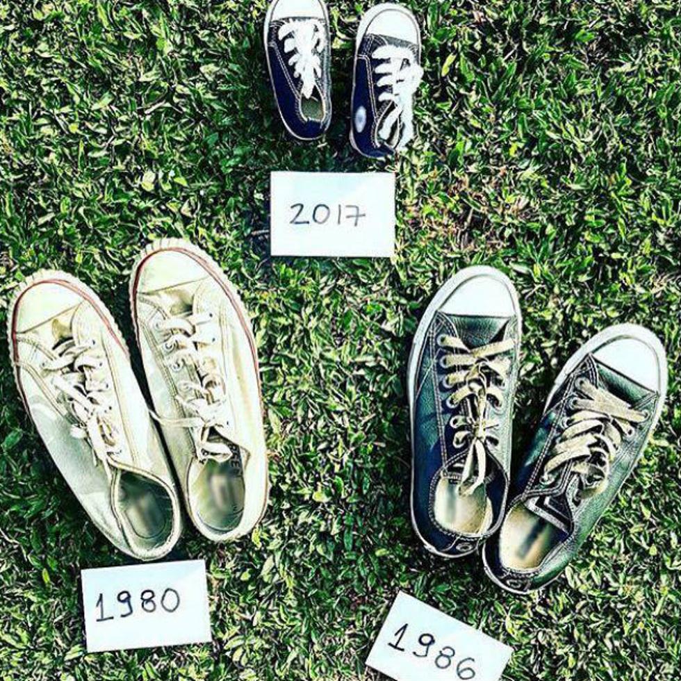 Rafa postou foto de três pares de tênis para anunciar chegada do filho (Foto: Divulgação)