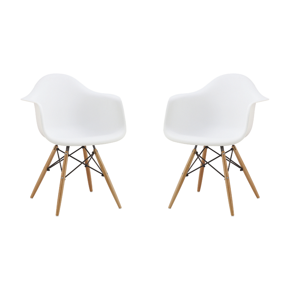 Conjunto 2 Cadeiras Eames Branca Base Madeira/ de R$ 899,99 por R$ 299,99 (Foto: Divulgação)